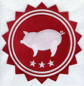 A pig silhouette stamp design.
