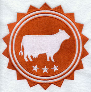 A cow and stars stamp design.