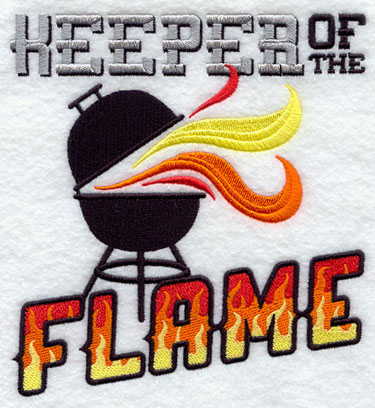 A Keeper of the Flame and grill machine embroidery design.