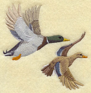 A pair of mallard ducks flying machine embroidery design.