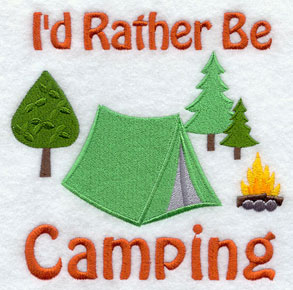 I'd Rather Be Camping machine embroidery sampler design.