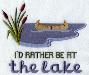 I'd Rather Be at the Lake machine embroidery sampler design.