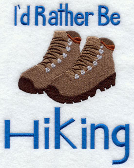 I'd Rather Be Hiking machine embroidery sampler design.