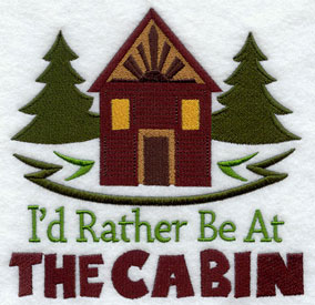 I'd Rather Be at the Cabin machine embroidery sampler design.