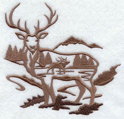 A scene-in-scene elk silhouette.