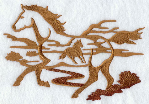 A wild horse silhouette scene machine embroidery design.