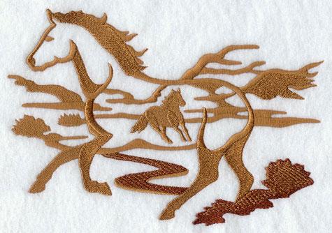 A wild horse silhouette scene machine embroidery design.