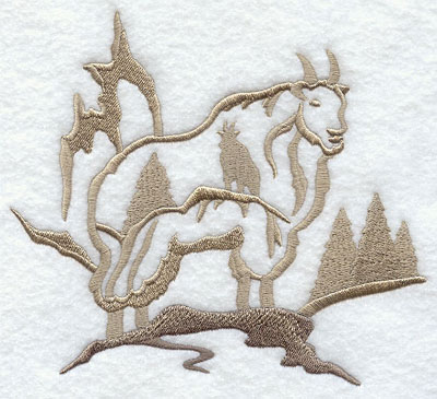 Mountain goat silhouette scene machine embroidery design.