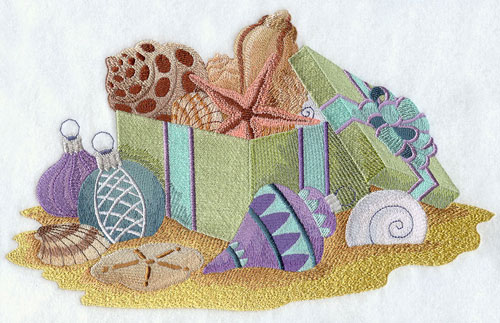 Sea shells and Christmas ornaments spill from a box with a bow.