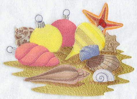 Sea shells, sand dollars, and hiliday ornaments decorate the ocean floor.