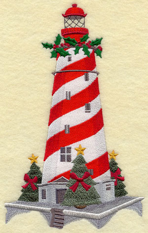 White Shoal Lighthouse in Lake Michigan, decorated for Christmas.