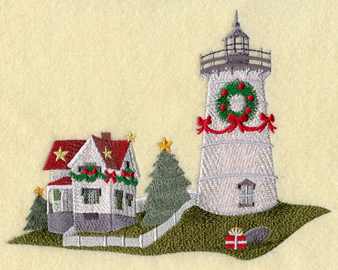 Cape Neddick Lighthouse in Maine, decorated for Christmas.