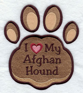 I Love My Afghan Hound paw print machine embroidery design.