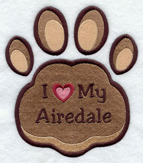 I Love My Airedale paw print machine embroidery design.