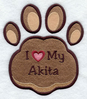 I Love My Akita paw print machine embroidery design.