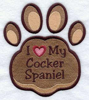 I Love My Cocker Spaniel paw print machine embroidery design.