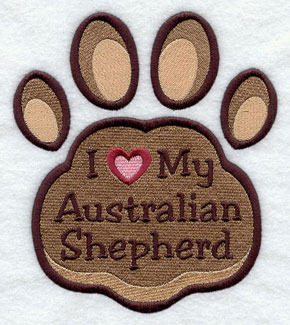I Love My Australian Shepherd paw print machine embroidery design.