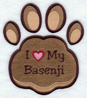 I Love My Basenji paw print machine embroidery design.