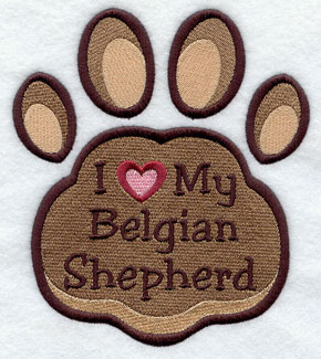 I Love My Belgian Shepherd paw print machine embroidery design.