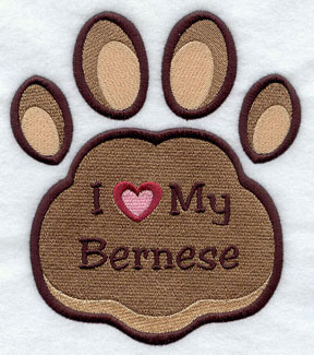 I Love My Bernese paw print machine embroidery design.