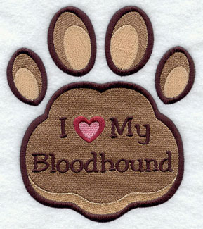 I Love My Bloodhound paw print machine embroidery design.