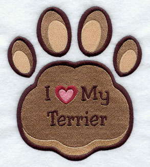 I Love My Terrier paw print machine embroidery design.