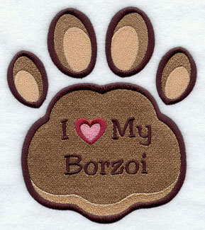 I Love My Borzoi paw print machine embroidery design.