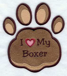 I Love My Boxer paw print machine embroidery design.