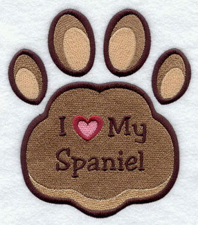 I Love My Spaniel paw print machine embroidery design.