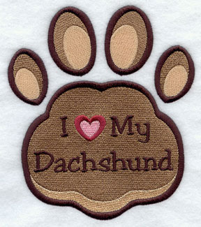 I Love My Dachshund paw print machine embroidery design.