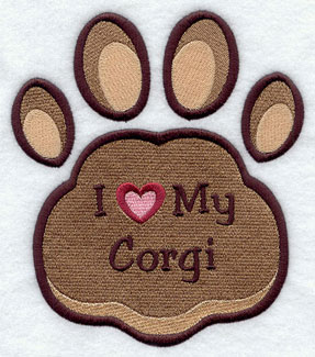 I Love My Corgi paw print machine embroidery design.