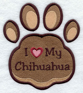 I Love My Chihuahua paw print machine embroidery design.