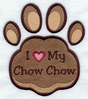 I Love My Chow Chow paw print machine embroidery design.