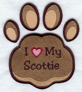 I Love My Scottie paw print machine embroidery design.