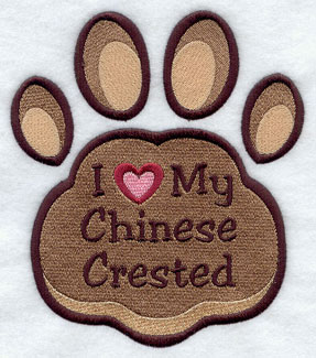 I Love My Chinese Crested paw print machine embroidery design.