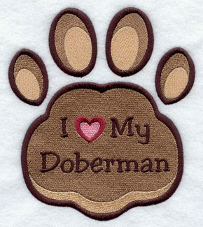 I Love My Doberman paw print machine embroidery design.