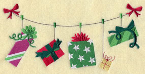 A Christmasgifts on a clothesline machine embroidery design.