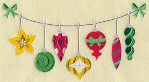 A Christmas ornaments on a clothesline machine embroidery design.
