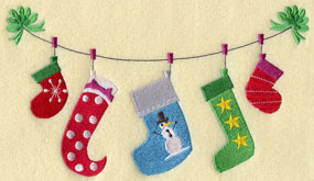 A Christmas stocking clothesline machine embroidery design.