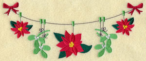 Poinsettias and mistletoe on a clothesline machine embroidery design.