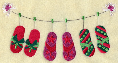 Flip-flops with Christmas colors and patterns on a clothesline.