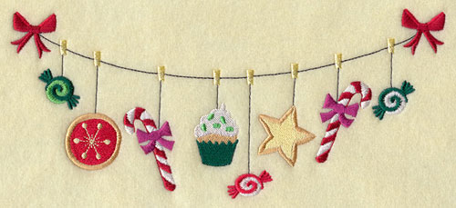 A Christmas cookies and treats on a clothesline machine embroidery design.