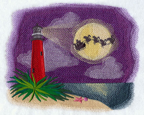 Santa Claus and his team of flamingos pulling his sleigh against the moonlight and past a lighthouse.