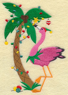 A Christmas flamingo decorates a palm tree with lights and ornaments.