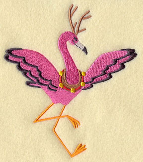 A Christmas flamingo wears a reindeer collar and antlers.