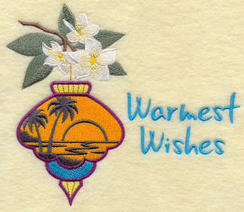 "A tropical silhouette ornament with flowers and text of ""Warmest Wishes."""