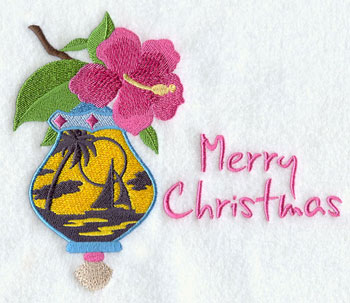 "A hibiscus hangs over a sailboat on ocean scene with the words ""Merry Christmas."""