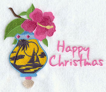 "A hibiscus hangs over a sailboat on ocean scene with the words ""Happy Christmas."""