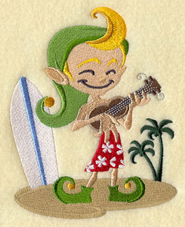 An elf enjoys a day at the beach with a ukulele and a surfboard.