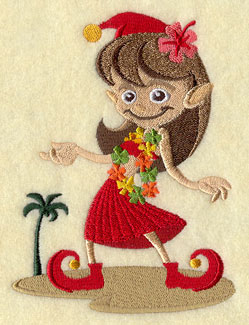 An elf wears a lei and dances the hula on the beach machine embroidery design.